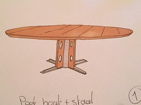 Schets ronde tafel op maat