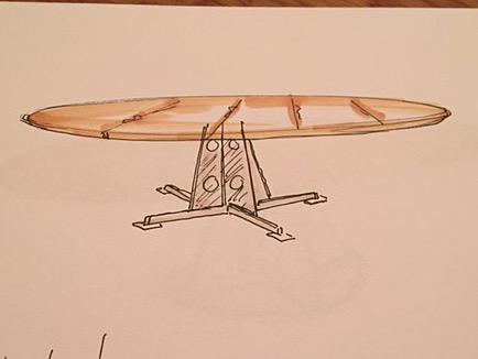 Schets tafel op maat gemaakt